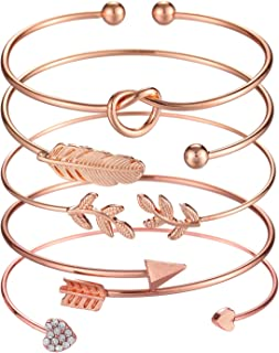 5pcs Bangle Rose Gold Bracelets for Women Girls Heart|Olive Leaf|Arrow|Feather|Knot Heart Open Cuff Bracelet Set Adjustable