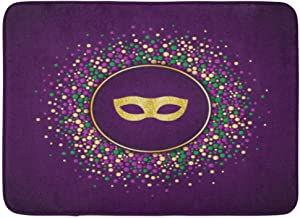 Doormats Bath Rugs Outdoor/Indoor Door Mat Colorful Abstract Mardi Gras Holiday Round Dotted Mask Suitable for Green Emble...