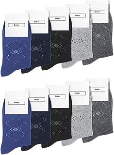 Mens Socks Cotton Dress Socks Breathable Classic Business Calf Socks (Pack of 5 or 10)