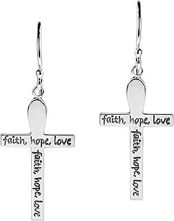 Elegant Faith-Hope-Love Cross .925 Sterling Silver Dangle Earrings