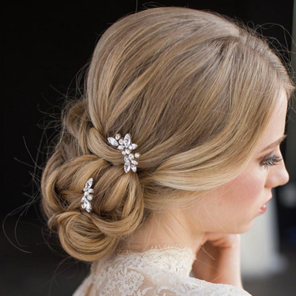 Aukmla - Pasadores para el pelo para novias, cristales, color plateado, para mujeres y niñas (Paquete de 3)