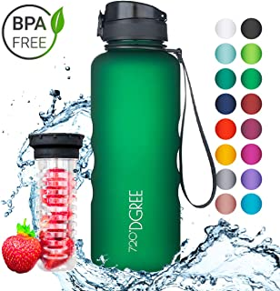720°DGREE Leakproof Tritan Water Bottle uberBottle - 50 oz, 1.5 Liter | Ideal for School, Fitness, Outdoor, Sport, Bike, Kids, Camping | Simple 1-Click Opening | with Fruit Filter - BPA Free