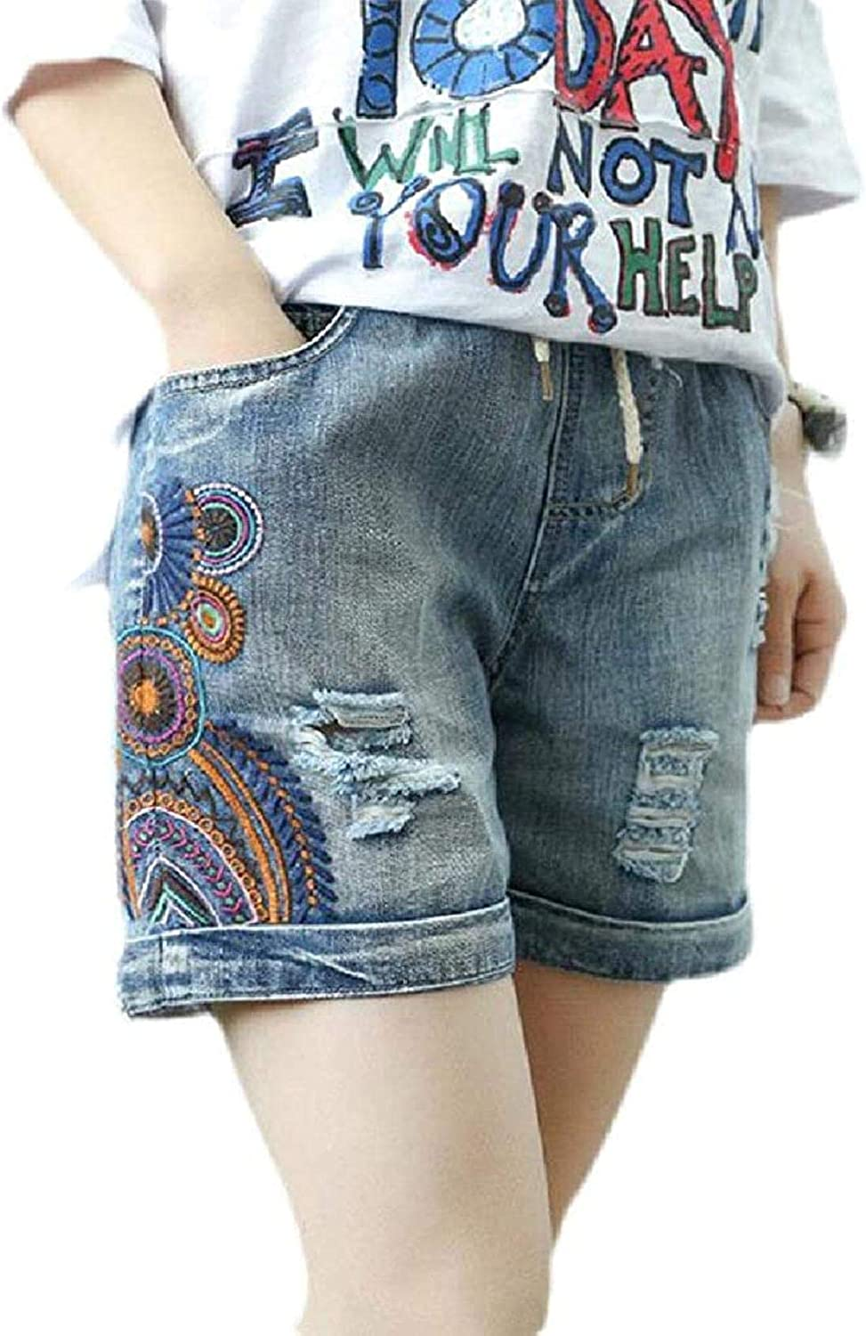 JNBGYAPS Women's Drawstring Loose Fit Embroidery Summer Ripped Distressed Denim Shorts Jeans