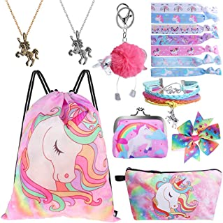 Standie 9PCS Drawstring Backpack for Unicorn Gift for Girls Include Makeup Bag Bracelet Necklace Set Hair Ties for Unicorn Party Favors Pink