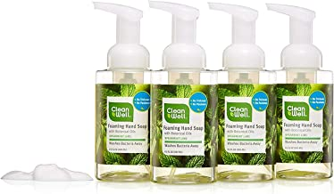 CleanWell Foaming Hand Soap, Spearmint Lime, 9.5 fl oz (4 PK) - Paraben Free, Alcohol Free, Plant-Based, Cruelty Free, Nontoxic, Kid Friendly, Pump Bottle