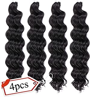 LEEONS Ocean Wave Crochet Hair 20 Inch (4-Pack, 1B) Black Deep Ripple Crochet Braids Synthetic Hair Braids