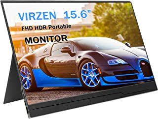 Portable Monitor Display 1920x1080 15.6-inch Super Thin IPS Gaming Monitor Screen USB-C for Laptop Computer Mac Phone HDMI Device,PS4 Xbox,Nintendo,Raspberry pi,Mac Mini,Mobile with Leather Case