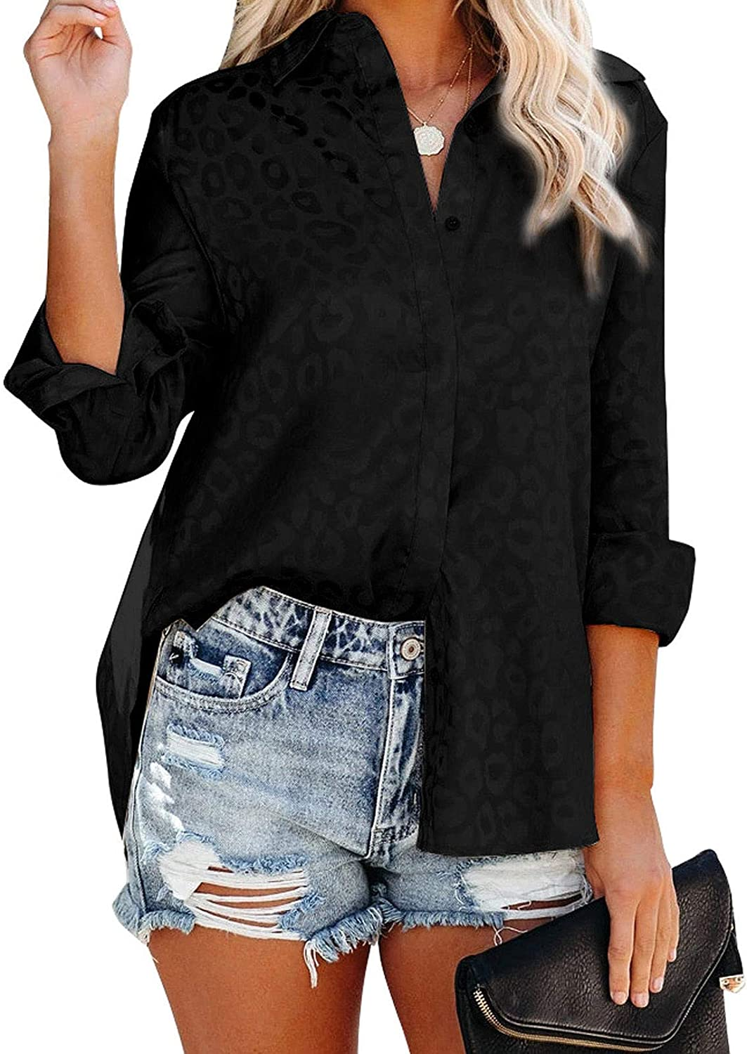 Ecrocoo Womens V Neck Roll up Sleeve Button Down Blouses Tops Loose Printing Casual Shirts