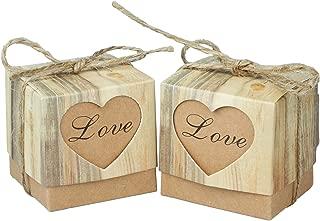 vLoveLife 50pcs Cute LOVE Heart Favor Box Kraft Paper Candy Boxes Gift Boxes + 50pcs Burlap Jute Shabby Chic Twines Wedding Party Favor Favours 5cm x 5cm x 5cm