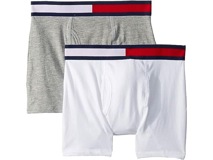 Tommy Hilfiger 2-Pack Logo Stripe Boys Boxer Trunks Grey Heather