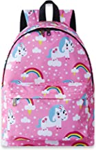 Funnycokid Kids Girls Unicorn Backpacks Back to School Bags Child Water-resistant Rucksack Lightweight Canvas Daypacks Bookbags with Bottle Side Pockets