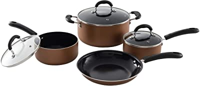 7 Piece Aluminum Non-Stick Dishwasher Safe Cookware Set, Pots and Pans, Copper