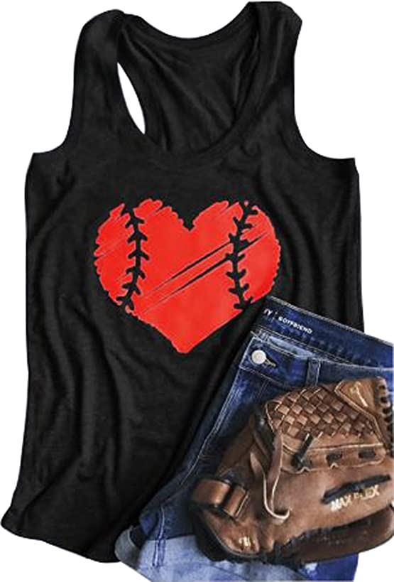 YUYUEYUE Baseball Mom Heart Print Funny Tank Top Women's Casual Vest Cami T-Shirt Tee