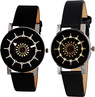 Nikola Geometric Design Valentine's Day Couple Analogue Black Color Dial Girls Watch - B134-G385 (Pack of 2)