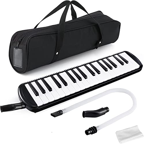 Swan7 37 Key Piano Style Black Melodica Wind Musical Instrument with Mouth Piece and Black Carry Bag