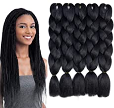 Ombre Braiding Hair 5 Packs Kanekalon Braiding Hair Extension for Braid Jumbo Braiding Hair 24 Inch (5 pack, black)