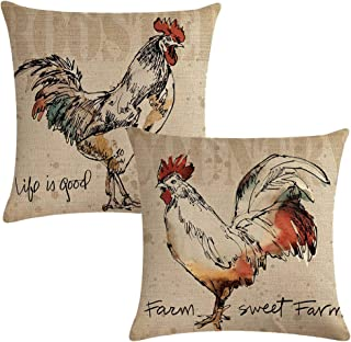 7COLORROOM 2 Pack Rustic Farmhouse Rooster Throw Pillow Covers Poultry Chicken Farm Sweet Farm Home Decorative Cushion Cover Pillow Cases 18