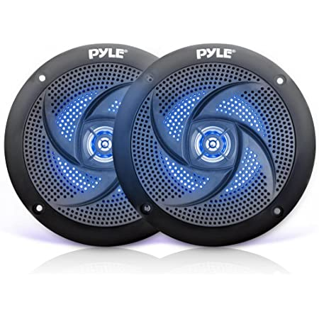 """Pyle Marine Waterproof Speakers 6.5"""" - Low Profile Slim Style Wakeboard Tower and Weather Resistant Outdoor Audio Stereo Sound System with LED Lights and 240 Watt Power - 1 Pair in Black - PLMRS63BL"""