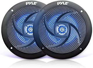 Pyle Marine Speakers - 5.25 Inch 2 Way Waterproof and Weather Resistant Outdoor Audio Stereo Sound System with LED Lights,...