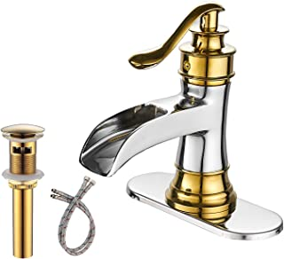 BWE Waterfall Spout Commercial Bathroom Sink Faucet Single Handle One Hole Gold With Chrome Deck Mount Lavatory