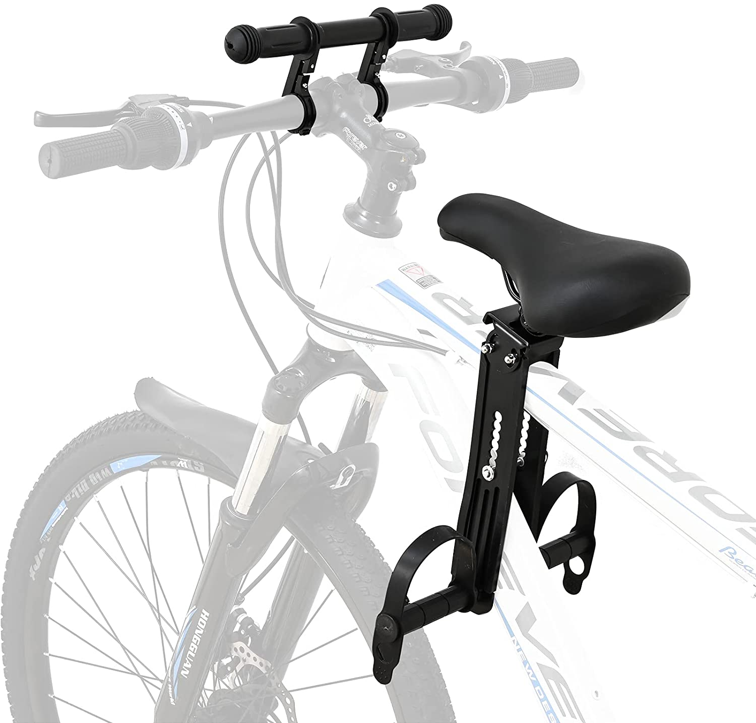 Kids Bike Seat with Handlebar Attachment, Detachable Front Mounted Child Bicycle Seats with Foot Pedals for Children 2~5 Years, Compatible with All Adult Mountain Bikes