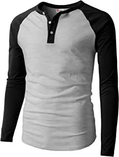 Mens Casual Premium Slim Fit T-Shirts Henley Long & 3/4 Sleeve Summer Clothes