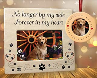 BANBERRY DESIGNS Pet Memorial Frame and Ornament - No Longer by My Side - 4