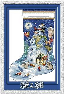 Cleana Arts Kreuzstich-Kits, Weihnachtsstrumpf, 11 CT Gezählt, 53cm × 76cm