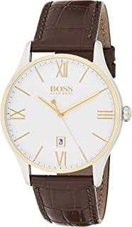 Hugo Boss 1513486 Men's Quartz Watch, Analog Display and Leather Strap, White