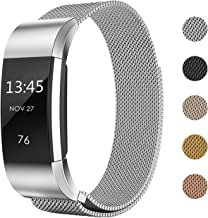 Keasy Replacement Bands Compatible with Fitbit Charge 2, Stainless Steel Metal Lock Replacement Wristband for Women Men (Silver, Small (5.3-7.6 Inch))
