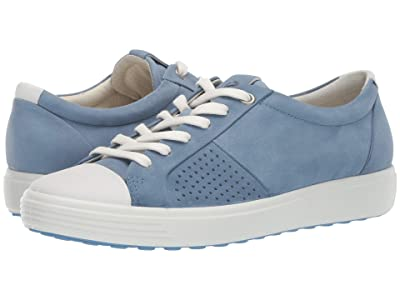 ECCO Soft 7 Cap Toe (White/Retro Blue Cow Leather/Cow Nubuck) Women