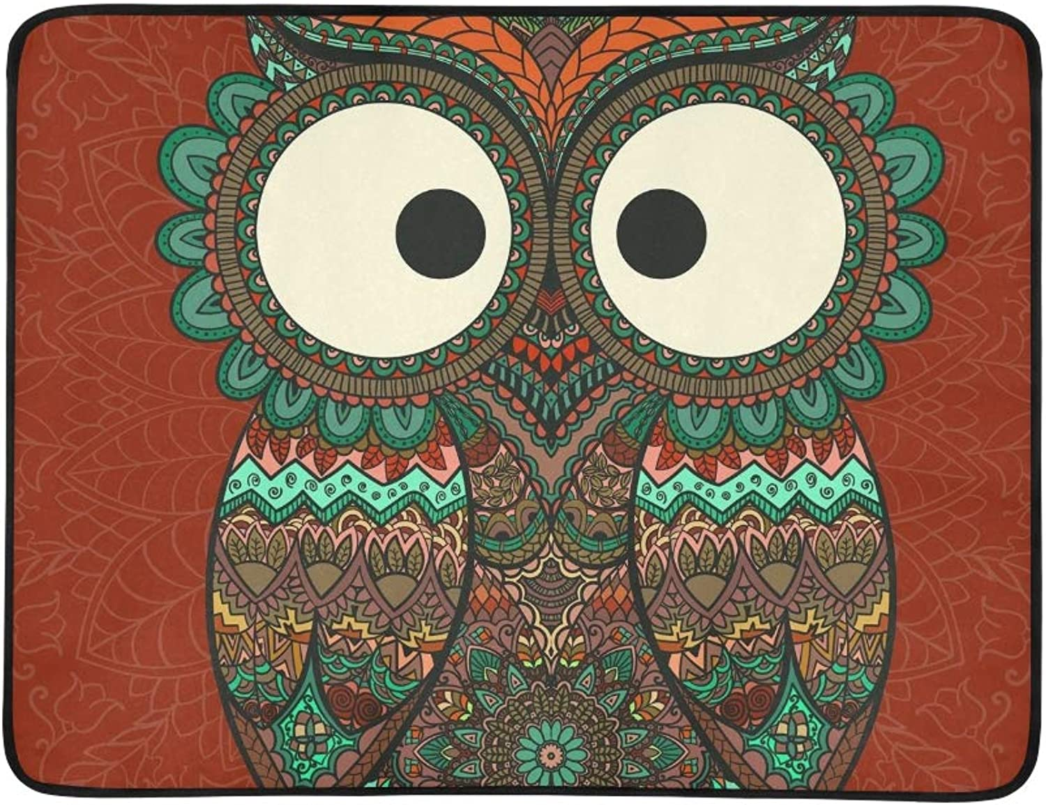 Boho Ornamental Owl Ethnics Abstract Portable and Foldable Blanket Mat 60x78 Inch Handy Mat for Camping Picnic Beach Indoor Outdoor Travel