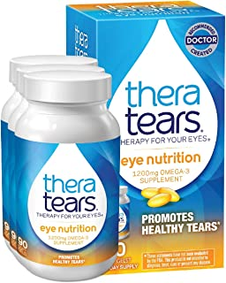 TheraTears 1200mg Omega 3 Supplement for Eye Nutrition, Organic Flaxseed Triglyceride Fish Oil and Vitamin E, 90 Count, 3 ...