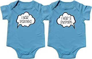 Twin Baby Boys Bodysuits, Includes 2 Bodysuits Twin 1 Twin 2 Set