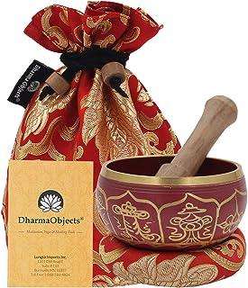 DharmaObjects ~ Tibetan Singing Bowl Set ~ With Mallet, Brocade Cushion & Carry Bag ~ For Meditation, Chakra Healing, Pray...