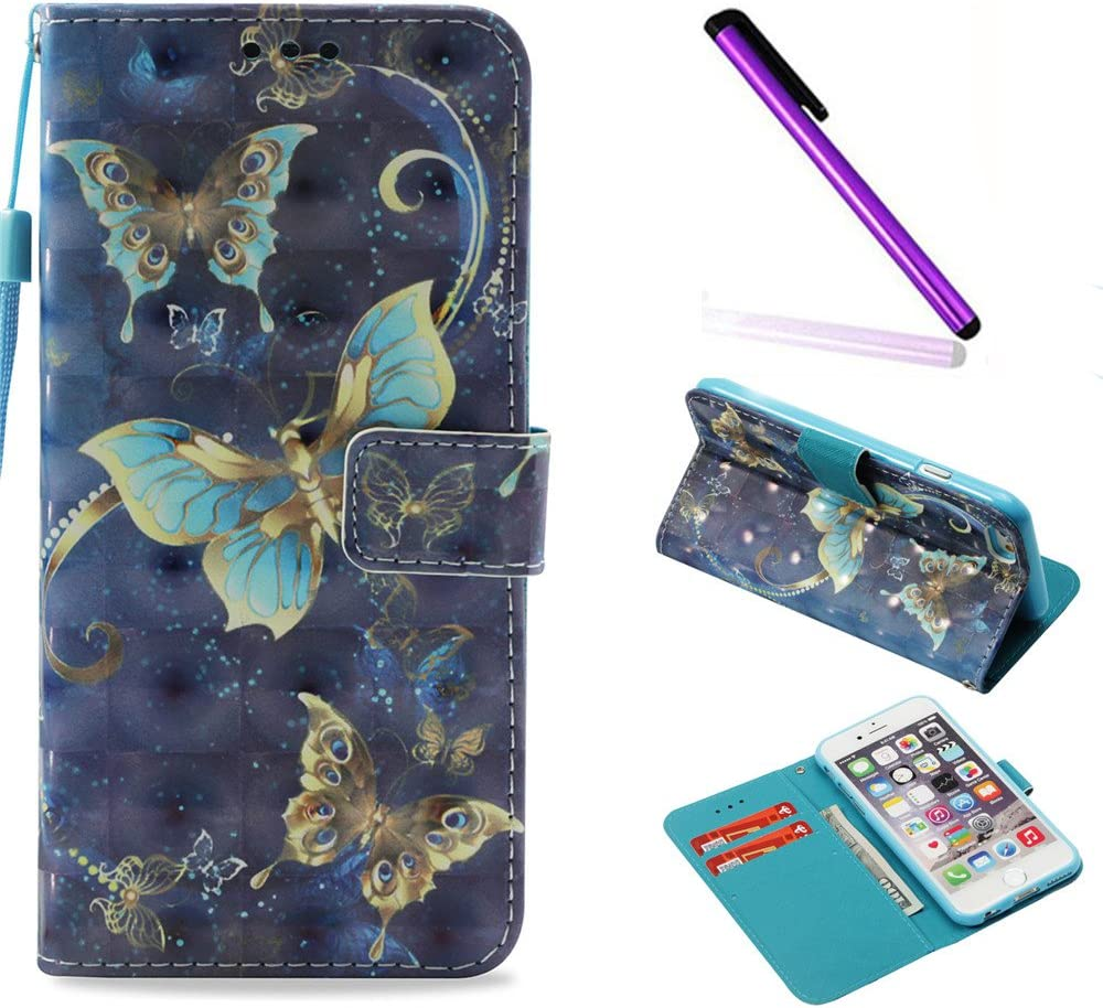 iPhone 6 Case iPhone 6S Case ISADENSER Glitter 3D Fancy Luxury Design Wallet with Card Holder Cash Slots Kickstand Shockproof PU Leather Folio Flip Case Cover for iPhone 6S 6 3D Gold Butterflies YB