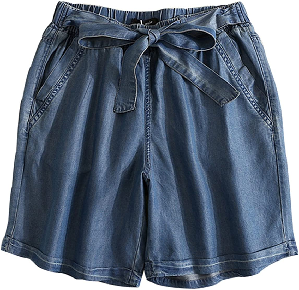 Yimoon Women's Elastic Waist Casual Comfy Tencel Denim Shorts with Drawstring