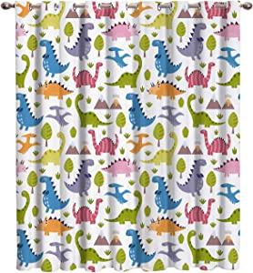 Vandarllin Cute Cartoon Dinosaurs Thermal Insulated Blackout Window Curtains/Treatments(1 Panel) Kids Doors Curtains and Drapes for Home,Bedroom, Living Room, 52 Wx72 L Inch