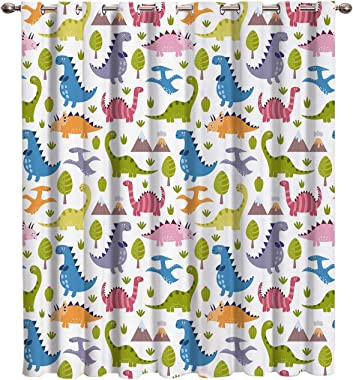 Vandarllin Cute Cartoon Dinosaurs Thermal Insulated Blackout Window Curtains/Treatments(1 Panel) Kids Doors Curtains and Drap