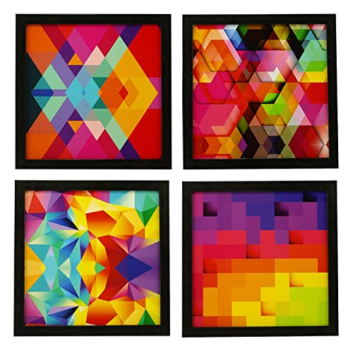 Indianara 4 Piece Set of Framed Wall Hanging Abstract Art Decor(1167) Art Prints 8.7 inch X 8.7 inch Without Glass