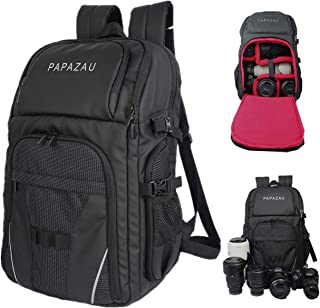 PAPAZAU DSLR Camera Backpack Water Resistant Camera Bag Case Fits up to 15.6 inch Laptop Compartment, Padded Custom Divide...