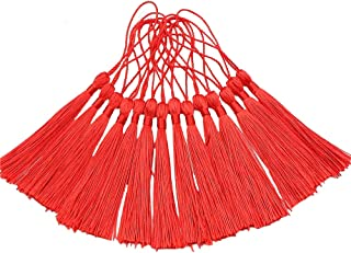 Creanoso Bookmark Tassels, Red (100 Pack)- 100% Handmade Anti-Wrinkled Premium Quality - Great for Bookmarks, Jewelry Making, DIY Projects, Arts and Crafts Creations