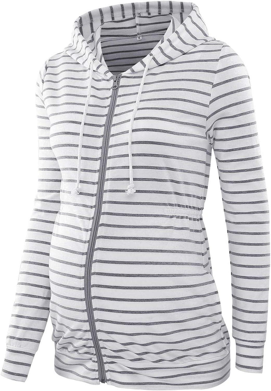 Love2Mi Womens Pregnant Hooded Pullover Zipper Sweatshirts Jacket Maternity Fashion Long Sleeve Hoodie