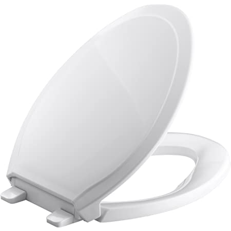 2 Pack Kohler K-4774-0 Brevia Elongated White Toilet Seatwith Quick-Release Hinges And Quick-Attach Hardware For Easy Clean