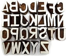 Wooden Alphabet Decorative Textile Printing Blocks Handcarved Stamp