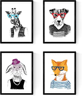 Nacnic Set de Cuatro láminas Animales Hipsters. Posters para enmarcar con Ilustraciones de Animales. Tamaño A4, con Marco