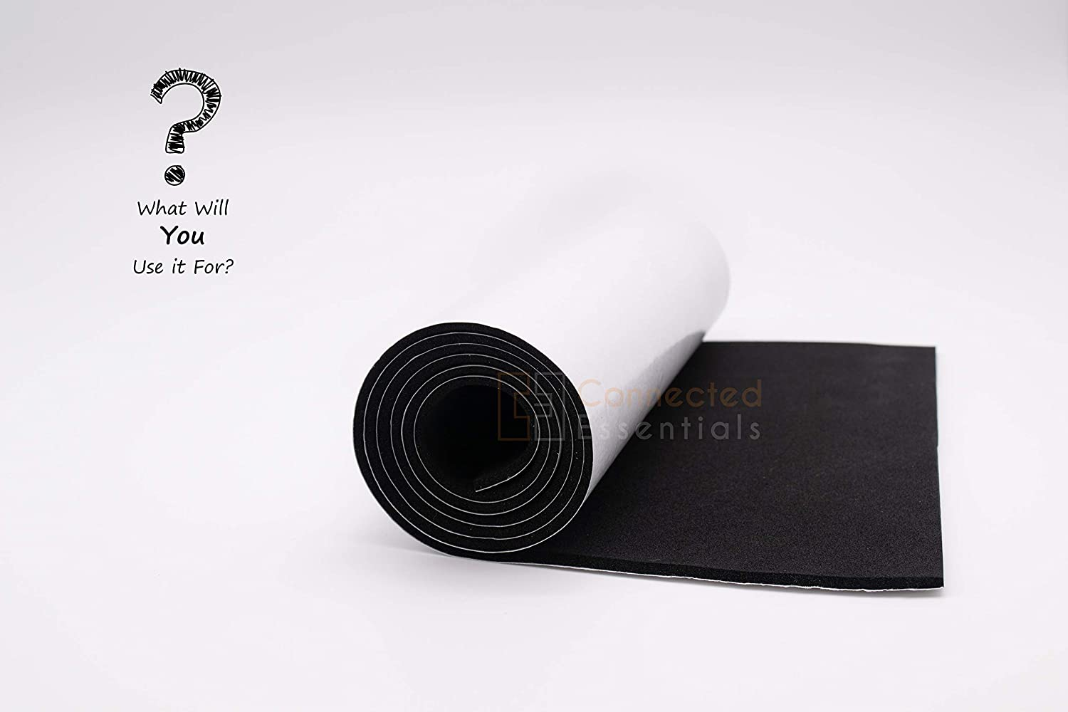 Connected Essentials Black Self-Adhesive 0.1 Thick Waterproof Foam Roll 3mm Roll