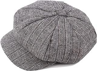 Fashion Hats Winter Autumn Wool Beret Cap Ladies Cotton Hat Men's Striped Wool Knit Octagonal Cap Middle-Aged Warm Forward Cap Elegant Hats (Color : Gray, Size : 56-58CM)