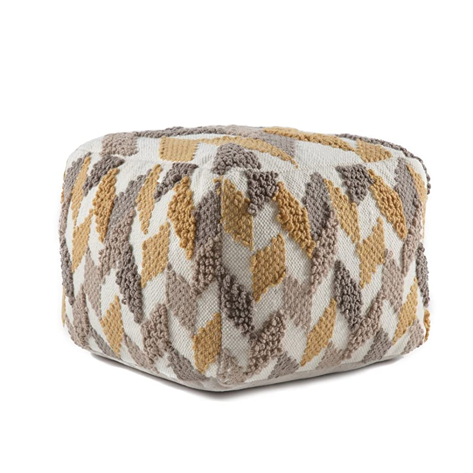 Madeleine Home Limoges Hand Woven Pouf |Stylish Accent Ottoman Pouffe|Accent Hassock Floor Cushion for Under Desk, Entry Way, Living Room, Bedroom, Dining | 20