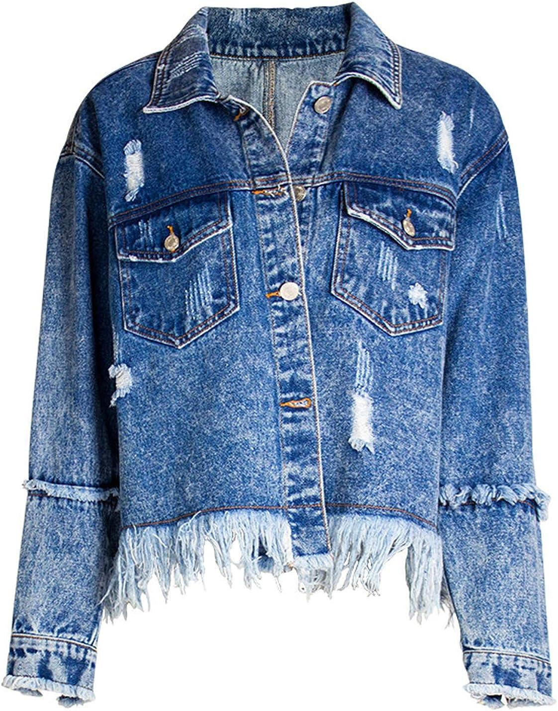 ZGZZ7 Women's Vintage Super sale Attention brand Broken Denim Jackets Buttons Casual Ripped